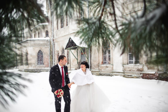 Wedding winter, bride and groom walking at winter wedding day